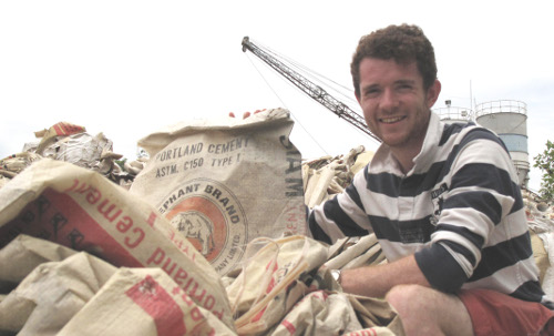 James Munro Boon with pre-Elephant Branded cement sacks